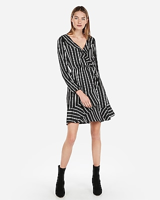 Express Womens Striped Elastic Waist Ruffle Wrap Dress