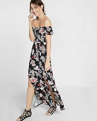 Express Womens Printed Smocked Off The Shoulder Maxi Dress