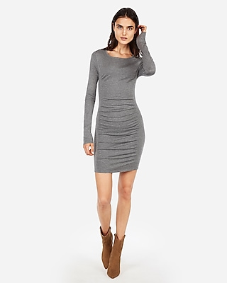 Express Womens Solid Ruched Sweater Dress