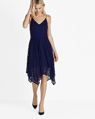 Express Womens Lace Hi-Lo Fit And Flare Dress