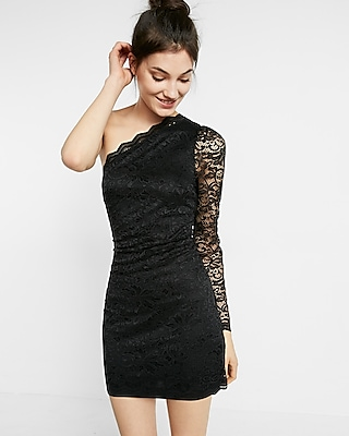 Express Womens Lace One-Shoulder Puff Sleeve Sheath Dress