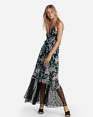 Express Womens Floral Strappy Lace-Up Maxi Dress