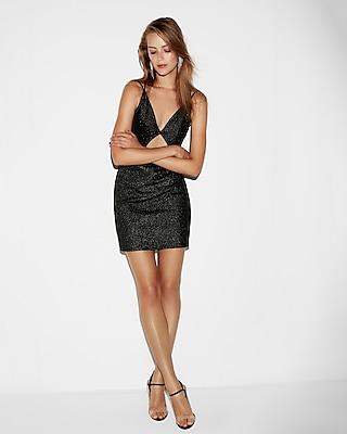 Express Womens Metallic Cut-Out Mini Sheath Dress