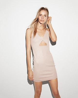 Express Womens Metallic Cut-Out Mini  Dress Pink Women's 0 Pink 0