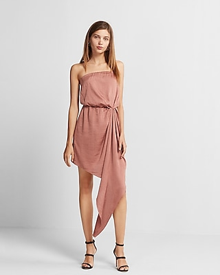 Express Womens Strapless Asymmetrical Hem Dress