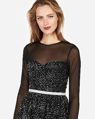 Express Womens Edition Crystal Mesh Fit And Flare Dress