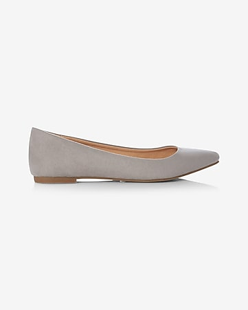 faux suede pointed toe flat