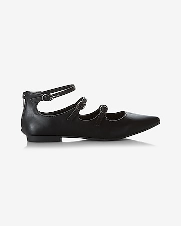 strappy pointed toe mary jane flat