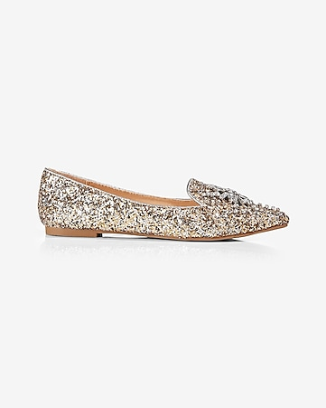 glitter pointed toe flat