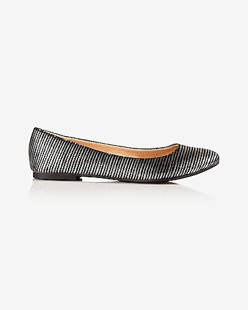 metallic stripe almond toe flat
