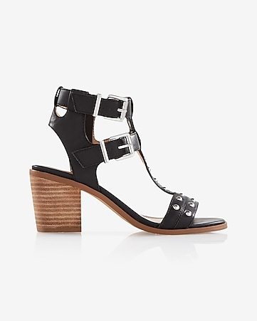 studded block heeled sandal