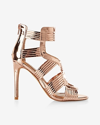 Express Womens Shiny Caged Heeled Sandal
