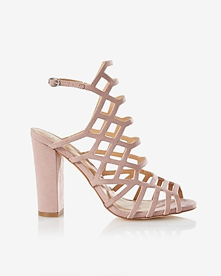 Express Womens Caged Thick Heeled Sandals