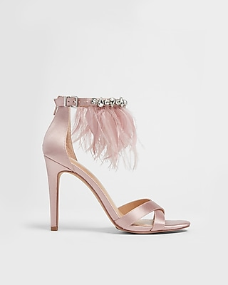 Express Womens Feather And Rhinestone Satin Heeled Sandals