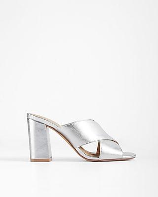 Express Womens Crisscross Heeled Mules Silver 6