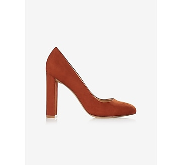 faux suede thick heeled pump