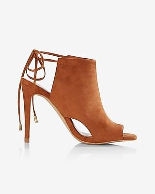 Express Womens Cut-Out Peep-Toe Heeled Sandal Brown 6