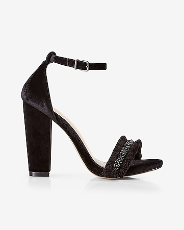 velvet beaded heeled sandal