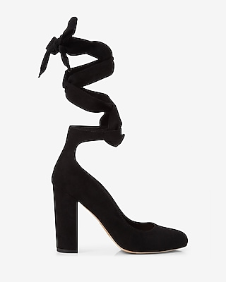 Express Womens Ankle Tie Thick Heeled Pump