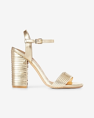 Express Womens Pleated Metallic Heeled Sandal Yellow 10