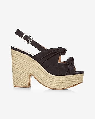 Express Womens Bow Espadrille Heeled Sandal
