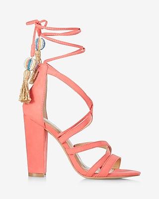 Express Womens Strappy Tassel Tie Heeled Sandal Pink 6