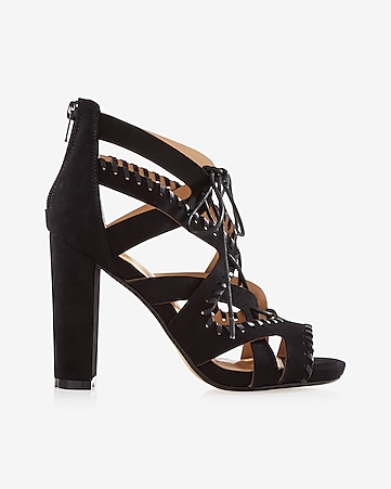 whipstitch lace-up heeled sandal