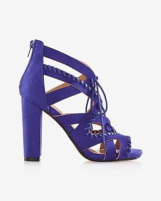 Whipstitch Lace-up Heeled Sandal