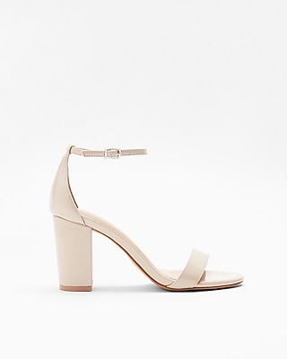 Express Womens Patent Thick Heeled Sandals