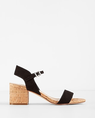 Express Womens Low Block Heel Cork Sandals