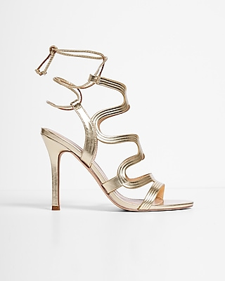 Express Womens Metallic Swirl Caged Heeled Sandals
