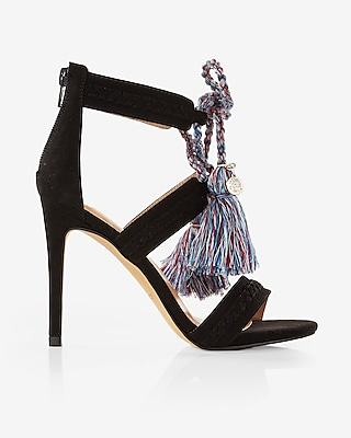 Express Womens Bright Tassel Lace-Up Heeled Sandals