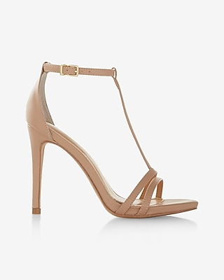Express Womens Simple T-Strap Heeled Sandal Neutral 6