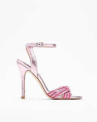 Express Womens Metallic Twist Heeled Sandals