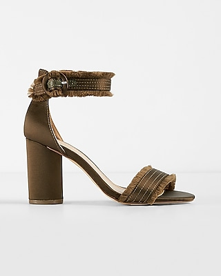 Express Womens Satin Fringe Heeled Sandals