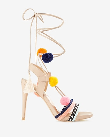 pom and tassel lace-up heeled sandal
