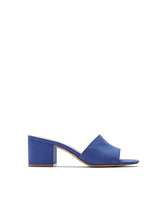 Express Womens Low Heeled Slide Mules Blue 6