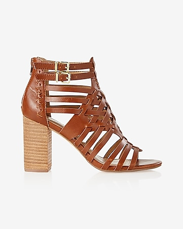 basketweave heeled sandal