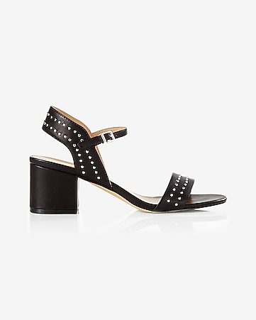 stud embellished low heeled sandal