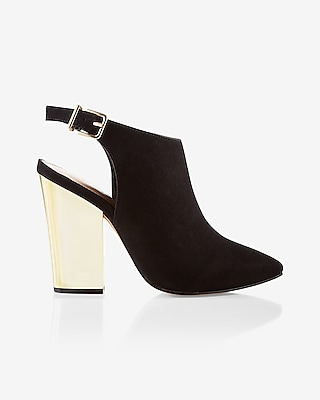 Express Womens Pointed Toe Heeled Mule Bootie Black 7