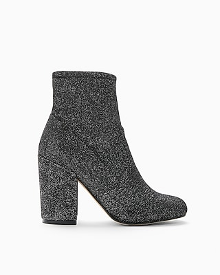 Express Womens  Sparkle Stretch Sock Boots
