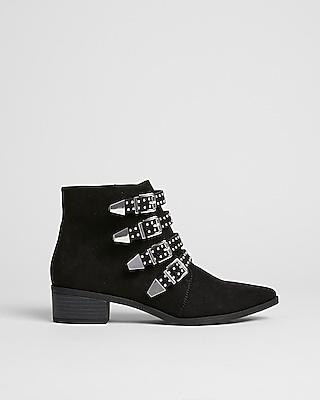 Express Womens Studded Buckle Booties
