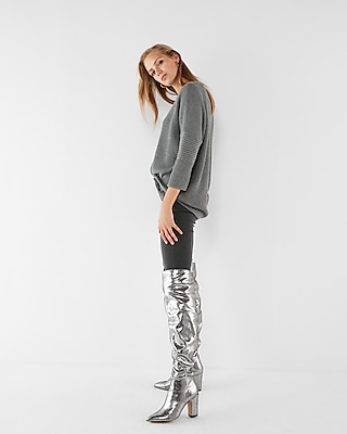 Express Womens Man Repeller Pick Tall Metallic Slouch Boots