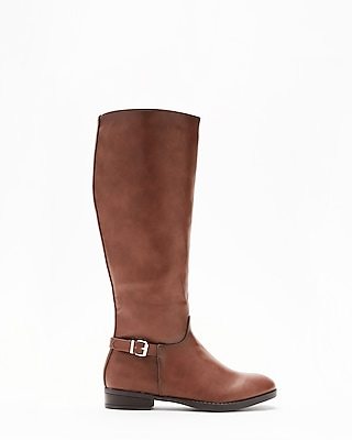 Express Womens Wide Calf Heeled Equestrian Riding Boots Brown 6