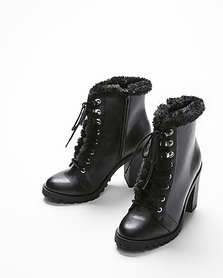 Express Womens Faux Fur Trim Heeled Combat Boots