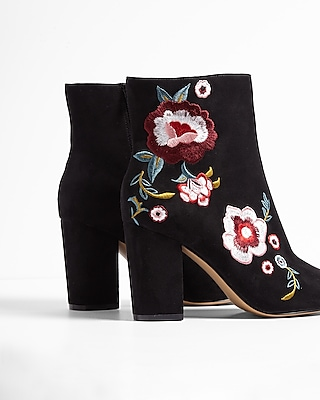 Express Womens Floral Patch Heeled Booties