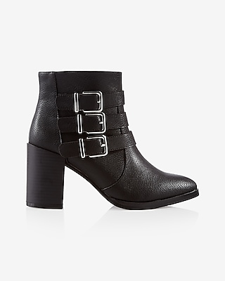 Express Womens Three Buckle Thick Heeled Bootie