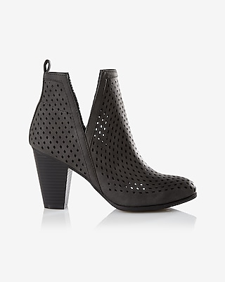 Express Womens Perforated Side Slit Heeled Bootie