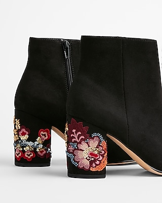 Express Womens Embroidered Sequin Heel Ankle Booties