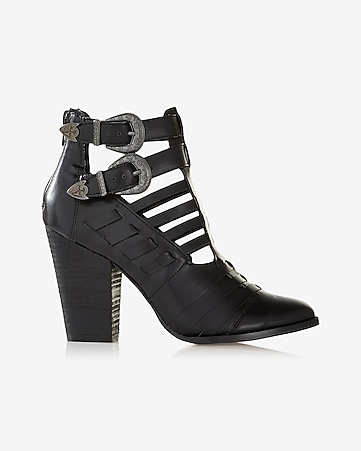 western buckle cut-out heeled bootie